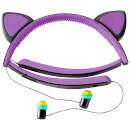 Live Love Music Light Up Cat LED Bluethooth Headphones - Purple
