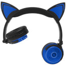 Live Love Music Light Up Wireless LED Cat Ears Headphones With Mic - Blue
