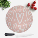 Pink And White Heart Pattern Round Chopping Board