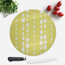 Lime Green Dot Lines Round Chopping Board