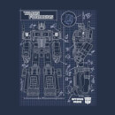 Transformers Optimus Prime Schematic Men's T-Shirt - Navy