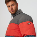 Colour Block Puffer bunda - Modrá - XS