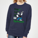 Popeye Keep Calm And Eat Spinach Women's Sweatshirt - Navy
