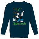 Popeye Keep Calm And Eat Spinach Kids' Sweatshirt - Navy