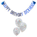 Ginger Ray Naughty Party Balloons & Bunting Pack - Blue