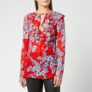Philosophy di Lorenzo Serafini Women's Leaf Print Frill Detail Blouse - Red