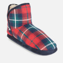 Joules Women's Cabin Fleece Lined Slippersocks - Red Check