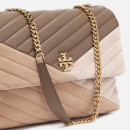 Tory Burch Women's Kira Chevron Mixed-Materials Convertible Shoulder Bag - Light Taupe
