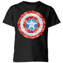 Marvel Captain America Pixelated Shield Kids' T-Shirt - Black