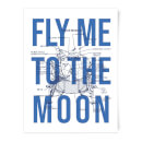 Fly Me To The Moon Blue Print Art Print
