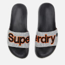 Superdry Men's Classic Embroidered Pool Slide Sandals - Grey Grit