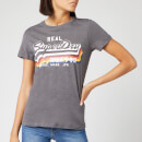 Superdry Women's V Logo Rainbow Entry T-Shirt - Slate Slub