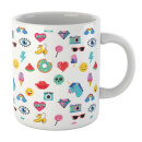 White 80s Stickers Mug