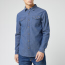 Superdry Men's Resurrection Long Sleeve Shirt - Cody Indigo Dobby