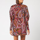 ROTATE Birger Christensen Women's Number 1 Paisley Velvet Dress - Raspberry Wine