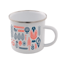 Flower All Over Scandi Print Enamel Mug – White