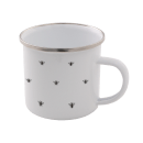 Bee Pattern Enamel Mug – White