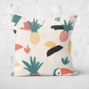 Parrot And Pineapple Pattern Square Cushion