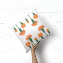 Orange Botanical Flowers Square Cushion