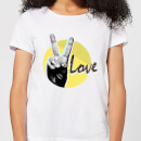 Peace Love With Circular Background Women's T-Shirt - White