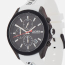 BOSS Hugo Boss Men's Velocity Leather Strap Watch - Rouge Black White
