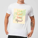 Work Travel Save Repeat Map Background Men's T-Shirt - White