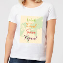 Work Travel Save Repeat Map Background Women's T-Shirt - White
