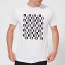 Chess Board Repeat Pattern Monochrome Men's T-Shirt - White