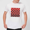Red Checkers Board Men's T-Shirt - White