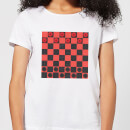 Red Checkers Board Women's T-Shirt - White