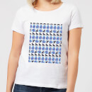 Night Time Geisha Block Pattern Women's T-Shirt - White