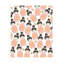 Orange Geisha Scattered Print Women's T-Shirt - White