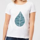 Plain Turquoise Leaf Women's T-Shirt - White