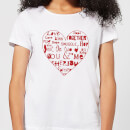 Love Dovey Words Heart Outline Women's T-Shirt - White