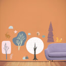 Woodland Forest Tree Scene Wall Art Sticker Pack
