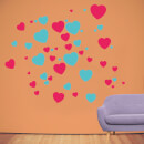 Red And Turquoise Love Hearts Wall Art Sticker Pack