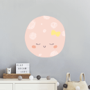 Pink Moon With Bow Wall Art Sticker
