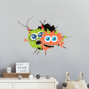 Monsters Through Cracked Wall Wall Art Sticker