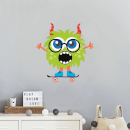Green Monster With Horns Wall Art Sticker