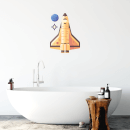 Rocket With Planet Wall Art Sticker