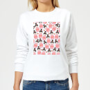 Pink Geisha Scattered Pattern Women's Sweatshirt - White
