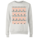 Orange Geisha Block Print Women's Sweatshirt - White