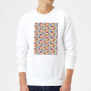 Candlelight Funky Colourful Square Checkered Pattern Sweatshirt - White