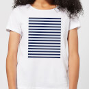 Candlelight Blue Line Pattern Women's T-Shirt - White