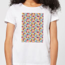 Candlelight Funky Colourful Square Checkered Pattern Women's T-Shirt - White