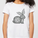 Candlelight Folk Silhouette Rabbit Cutout Women's T-Shirt - White