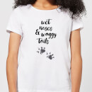 Candlelight Wet Noses And Waggy Tails Paw Prints Women's T-Shirt - White
