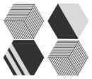 in homeware x Charlotte Greedy Geometric Hexagonal Coaster Set