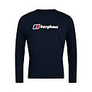 Men's Organic Big Logo Long Sleeve T-Shirt - Blue