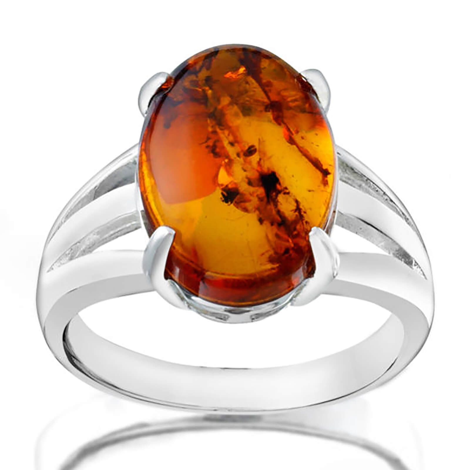 Silver Plated Genuine Oval Amber Ring